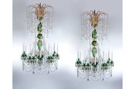 pair of green crystal gold russian chandeliers photo