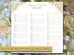 Wedding Reception Seating Chart Template Word Wedding Seating Chart Template Flourish Gold Seating Chart
