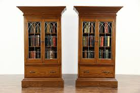pair 1900 antique oak bookcases or display cabinets gothic leaded glass doors