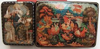 """Russian 2 lacquer boxes –""""Palekh Miniature""""- """"Legend of Pike ..."""