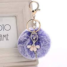 Rabbit Fur Ball <b>Key Chain Keyrings</b> Pendant <b>Bowknot Crystal</b> Angel ...