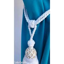 white curtain wood tassel tie backs