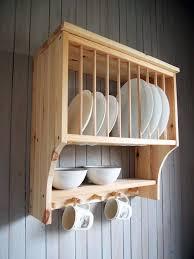 kitchen plate rack shelf solid pine