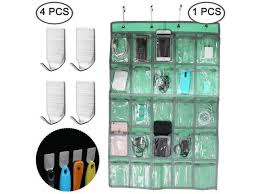 Classroom Pocket Chart With 4 Pcs Adhesive Hooks Afunta Hanging Organizer For Cell Phone Calculator Underwear Sock Storage With 4 Wall Hooks