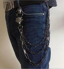 3 layers Rock <b>Punk</b> Long Metal Wallet Belt Chain <b>Trousers</b> Hipster ...