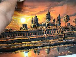 angkor wat temple painting original from cambodia 1 of 2only 1 available