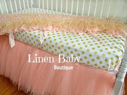 pink and gold tulle crib bedding peach