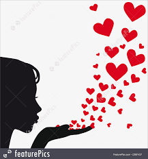 hearts silhouette illustration of silhouette woman blowing heart