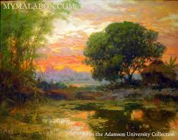 sunset over malabon fishponds by national artist fernando amorsolo from the adamson university collection photo taken by mar bustamante of adamson