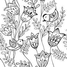 Coloriage De Fleurs De Printemps Oiseau Et Clochette Ecole