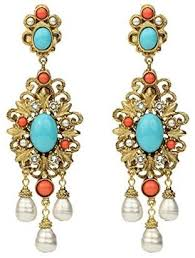 at co uk ben amun women s santorini gold turquoise pearl crystal chandelier clip on earrings