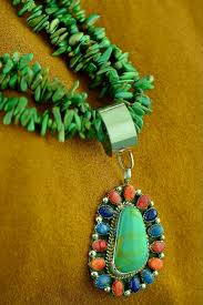 navajo 3 strand nevada turquoise necklace with sterling silver multi stone pendant by lucy cayatineto