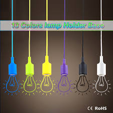 1pcs colourful e27 silicone led lamp holder diy rainbow pendant lights droplight vintage edison bulb for decoration art lighting