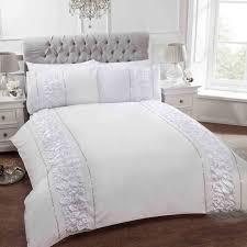 provence diamante faux silk ruffle duvet cover glam sparkle bling bedding white