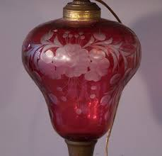 7828 pr antique new england etched cranberry glass oil lamps c1880 for