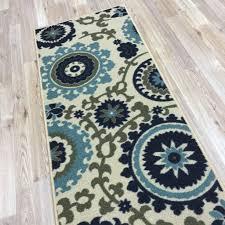 chevron runner rug fl swirl medallion ivory blue multicolor runner rug