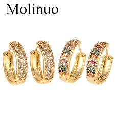 2019 <b>Molinuo Gold</b> 2 Sizes Round Circle Hoops Earrrings Colorful ...