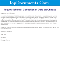 Request Letter For Correction Of Date On Cheque Png