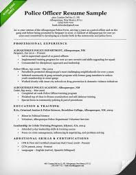 Law Enforcement Resume Template Police Officer Resume Sample Writing Guide  Resume Genius Ideas