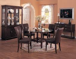 Modern Dining Room Rugs Black Round Stained Wooden Dining Table - Dining room rug round table