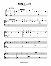 simple gifts piano sheet