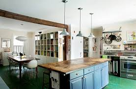 Whitewashed Kitchen Kitchen With Weathered Green Floors