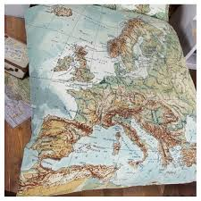 globe map vintage double duvet set by ciel notonthehighstreet com