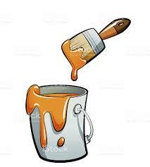 pincel con pintura. dibujos animados de color naranja en un cubo pintura con pincel illustracion libre derechos