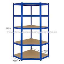 china heavy duty mdf 5 tiers corner racking shelving unit