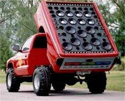 sound system car. system massive auto stereo speakers car truck with giant speaker array sound