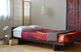 Bedroom:Wooden Bed Frame Minimal Bedroom Styling Idea Red Striped Bed Cover  And Light Brown