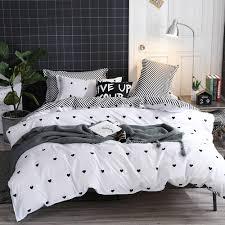 details about black white heart bedding duvet cover set quilt cover single double king size