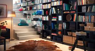 office library design. Impressive Basement Home Library Design With White Stair And Built In Wall Bookcase Also Standing Lamp Shade Plus Brown Animal Leather Rug Office