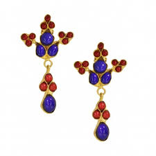 red and blue agate beaded chandelier earrings