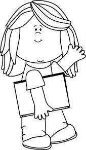 girl penguin clip art black and white. Wonderful Art Black And White Girl With Book Waving Clip Art To Penguin And N