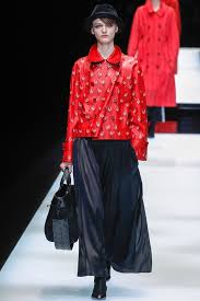 red leather jacket over maxi skirt from giorgio armani s fall winter 2017 collection