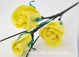 rose clay flower diy without cutter