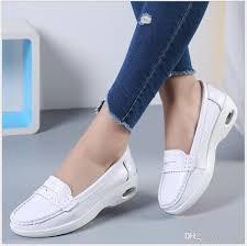 four seasons woman white nurse shoes women platform soft comfortable air cushion casual genuine leather antiskid shoes leather shoes dress shoes for men
