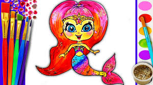 Small Picture Coloring Pages for Kids Rainbow MERMAID Drawing for children How