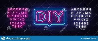 Diy Light Sign Board Diy Letters Neon Text Vector Do It Yourself Neon Sign