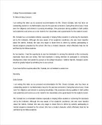 Re mendation Letter For College