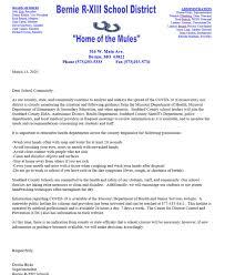 Letter from Dustin Hicks, Bernie School Superintendent