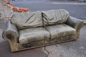 ferguson copeland ltd distressed green leather sofa