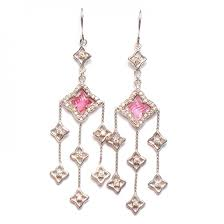 david yurman sterling silver diamond pink tourmaline quatrefoil chandelier earrings 89456