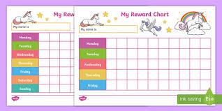 Weekly Reward Chart Printable Unicorn Reward Charts Behaviour Management House Points