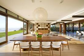 dramatic home applied in luxurious and elegant impression striking open floor dining area with round