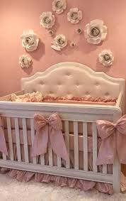 vintage cream white and pink antique dusty rose shabby chic baby nursery decor crib bedding set