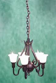 black 5 arm upright tulip chandelier