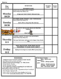 Homework Chart For Parents Student Weekly Planner And Homework Chart
