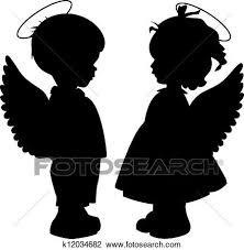 天使 シルエット セット クリップアート切り張りイラスト絵画集